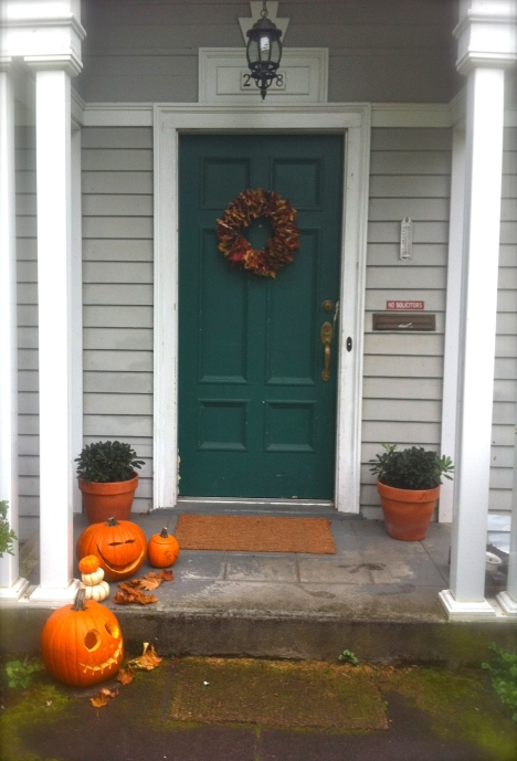 And now the front door looks Fallish and inviting