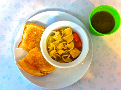 Turkey Noodle Soup, Grilled Cheese, and Green Juice