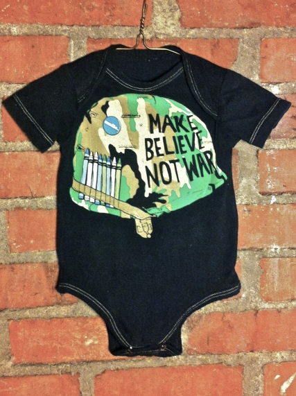 Tumblewee's Make Believe not War up cycled t-shirt onesie